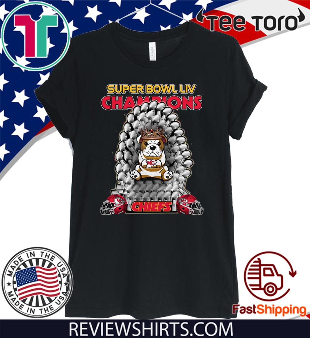 Bulldog Iron Throne Super Bowl LIV Champions Chiefs T-Shirt