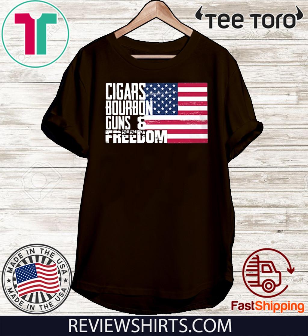 Cigars Bourbon Guns And Freedom American Flag Shirt