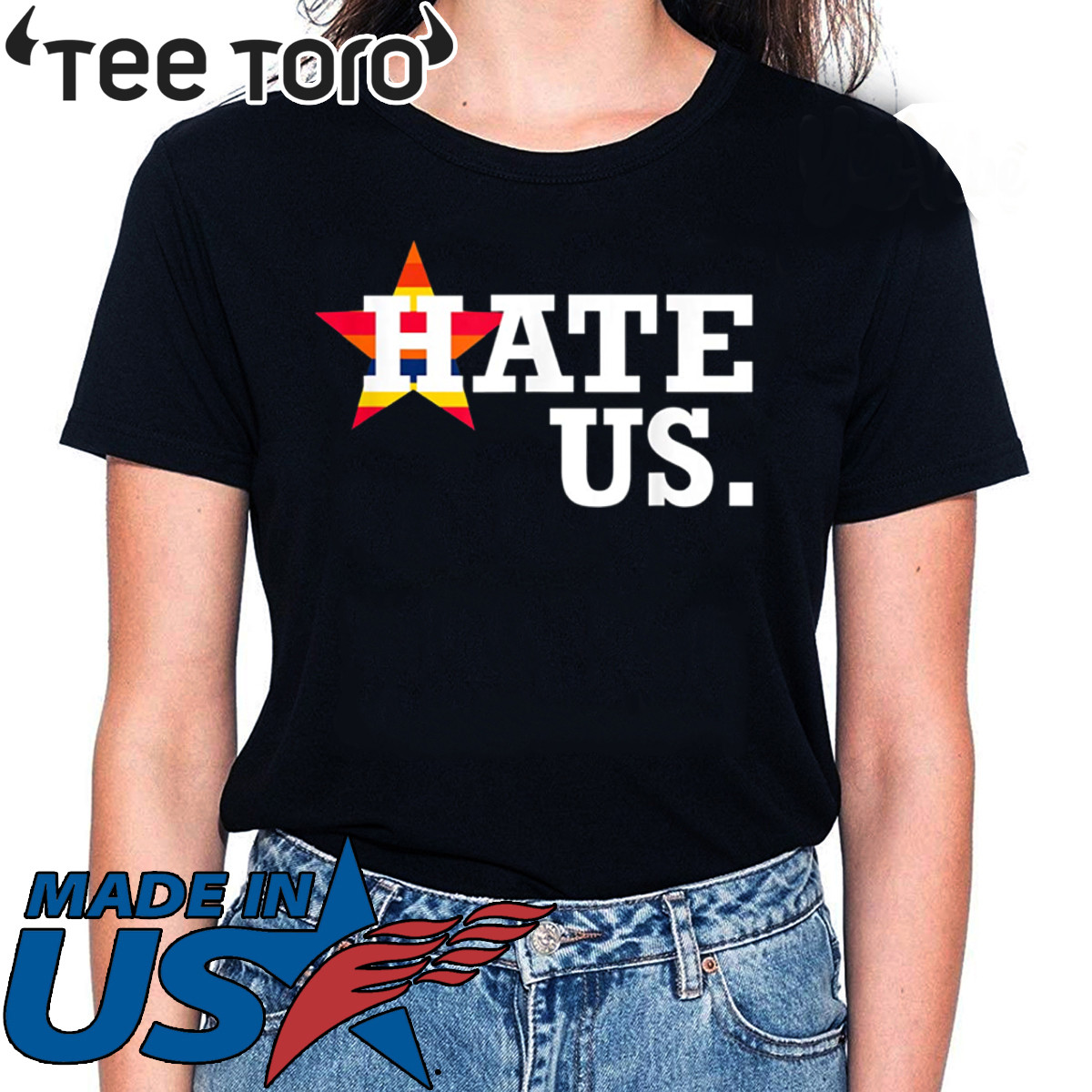 Hate Us Houston Baseball Proud Fan Graphic Shirt