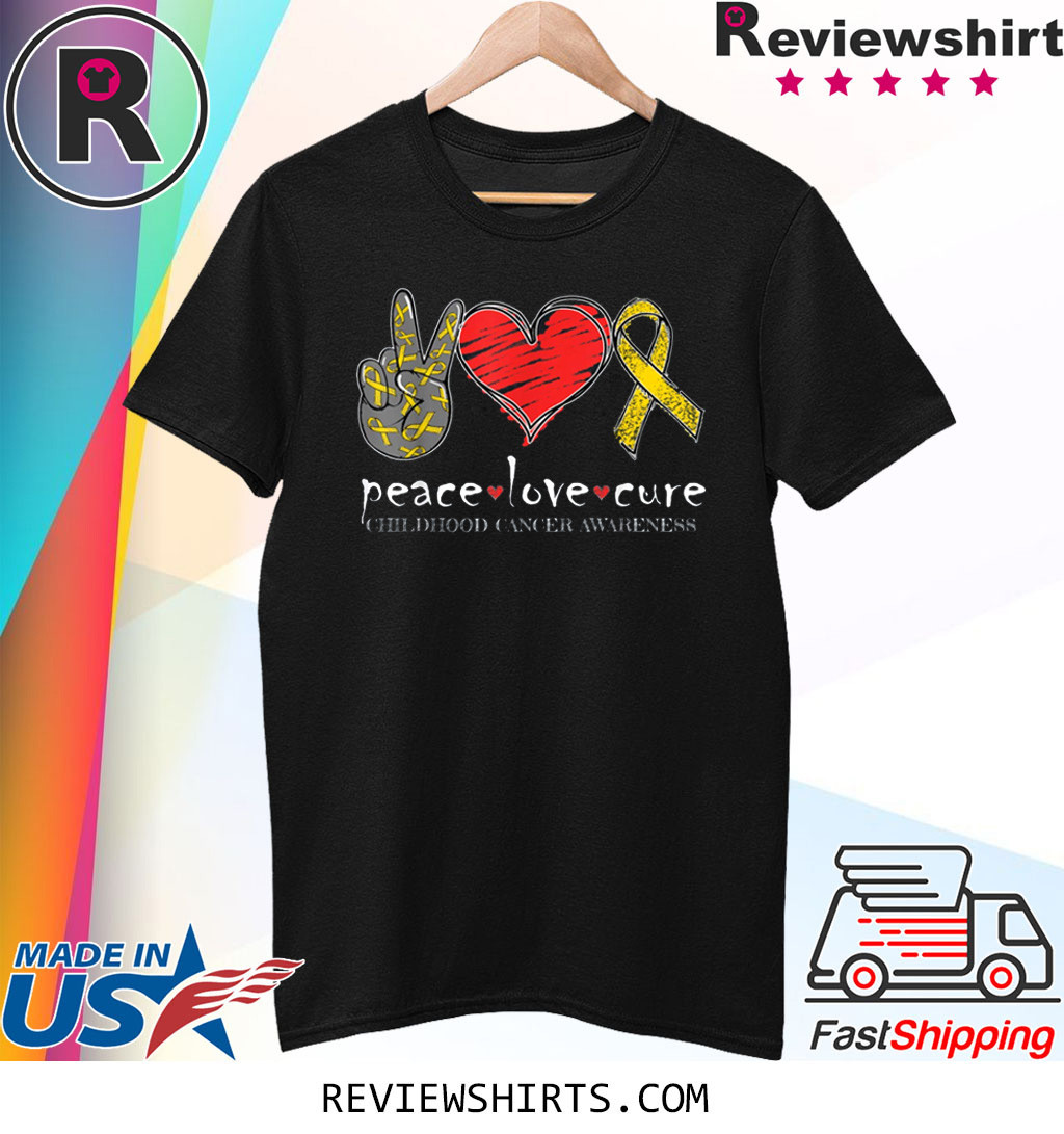 Peace Love Cure Childhood Cancer Awareness T-Shirt