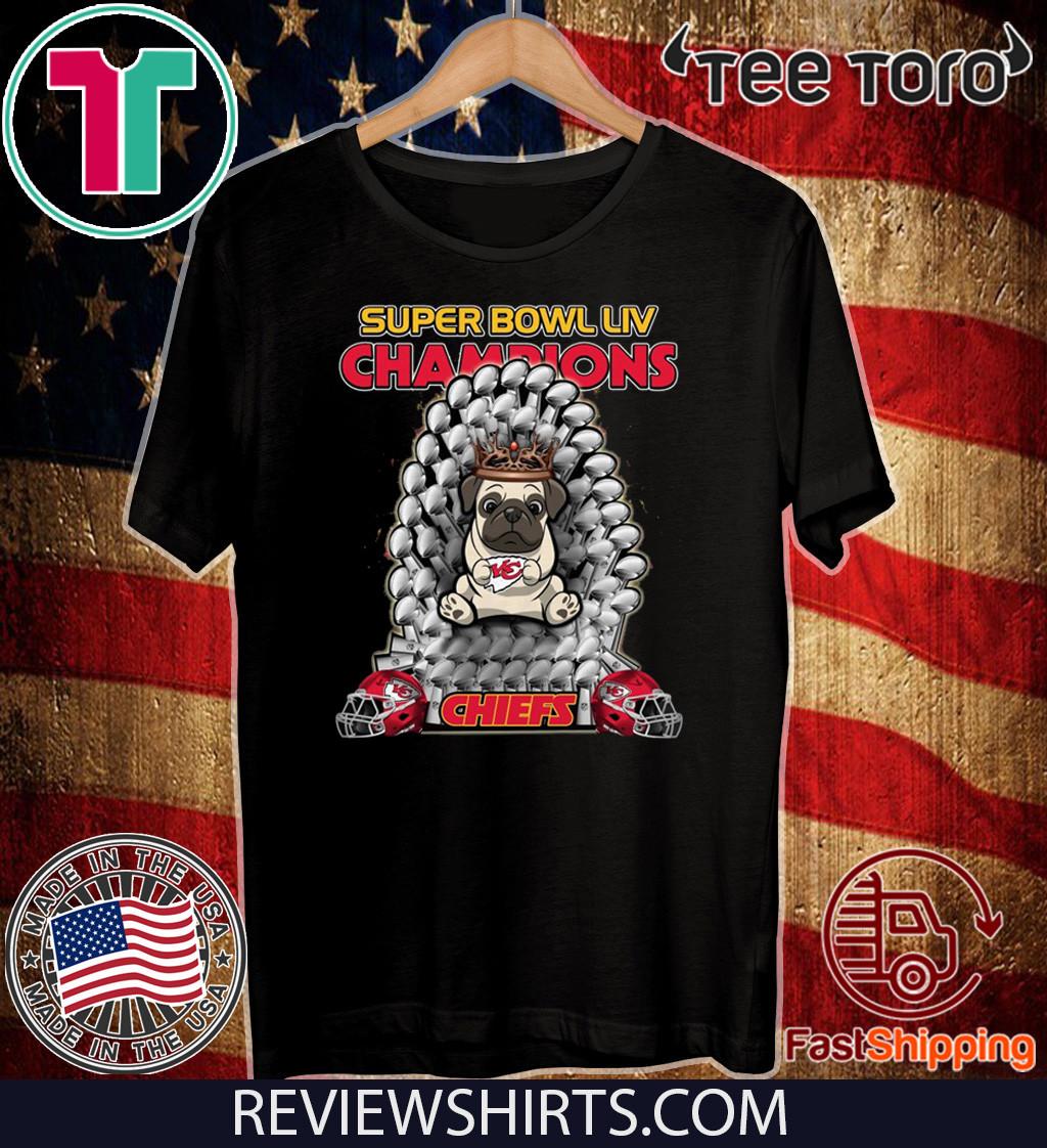 Pug Iron Throne Super Bowl LIV Champions Chiefs Official T-Shirt