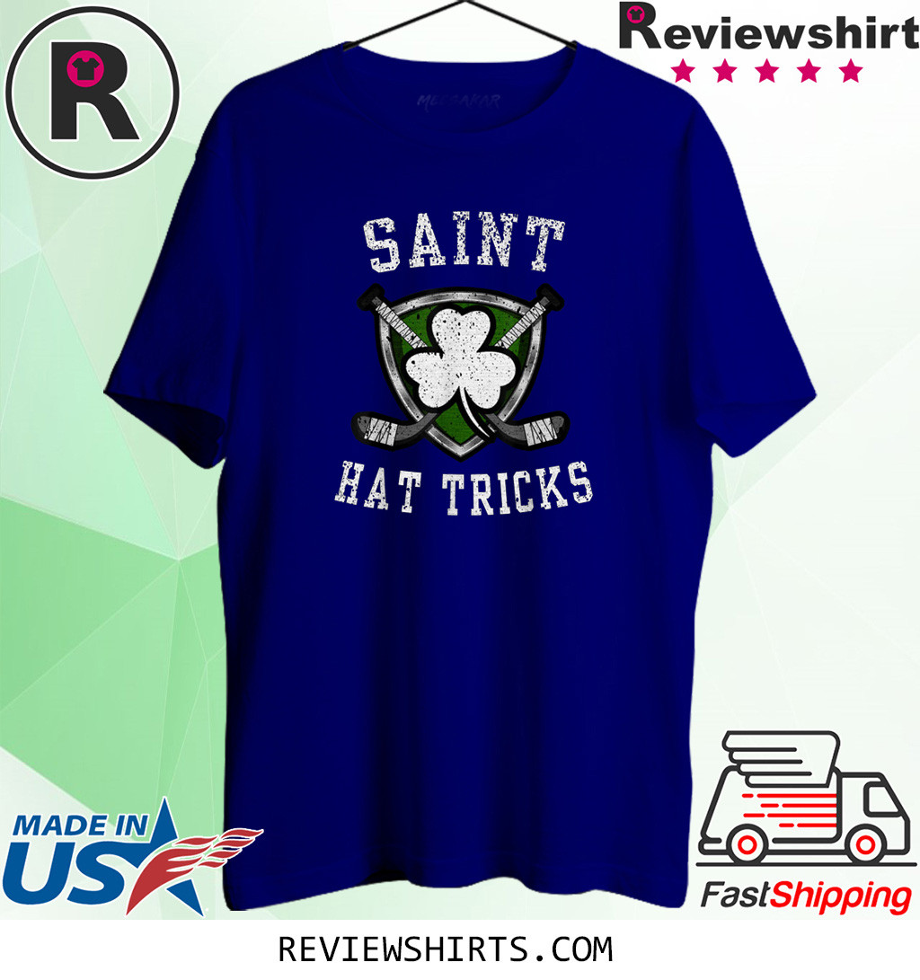 Saint Hattrick st Patrick's Day Hockey Hat Tricks Shirt