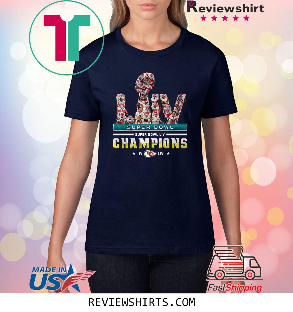 Super Bowl LIV Champions Kansas City Chiefs Signatures 2020 Shirt