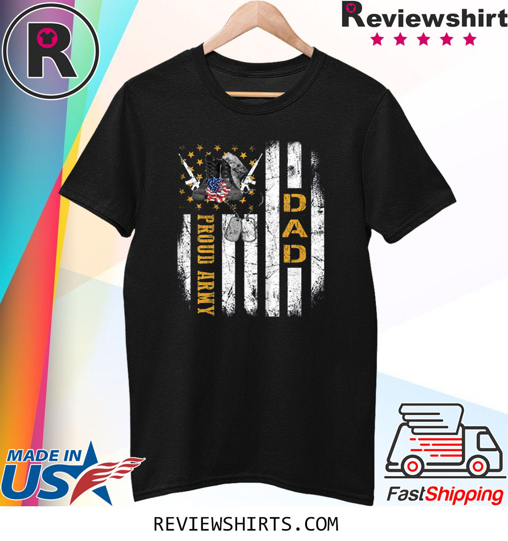 Vintage Proud US Army Dad American Flag Gift Veteran Day T-Shirt