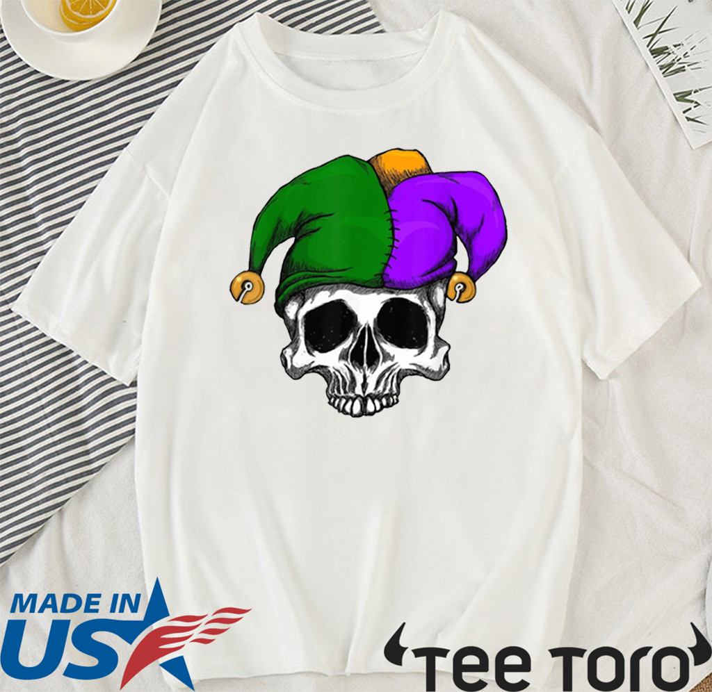 Mardi Gras Carnival Mask Sugar Skull Jester Clown Official T-Shirt