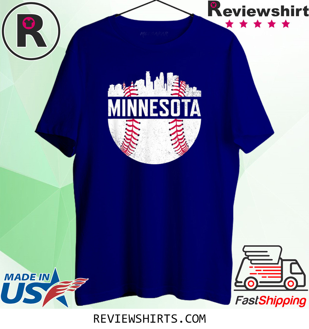 Vintage Minnesota Baseball Minneapolis Twin City Skyline T-Shirt