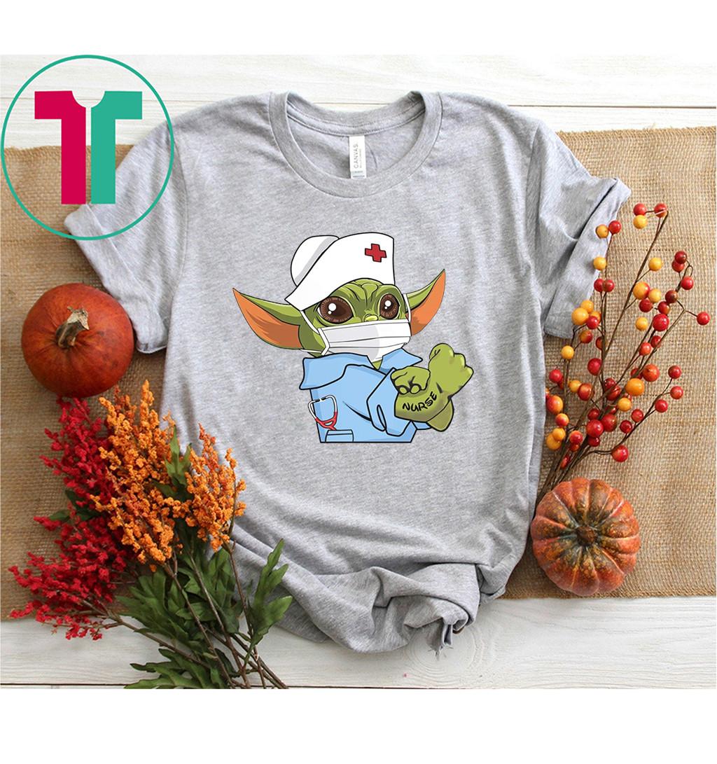 Baby Yoda Wearing Scrub Nurse Strong Shirt Baby Alien Starwars Nurse Not Quarantined Tee Shirt