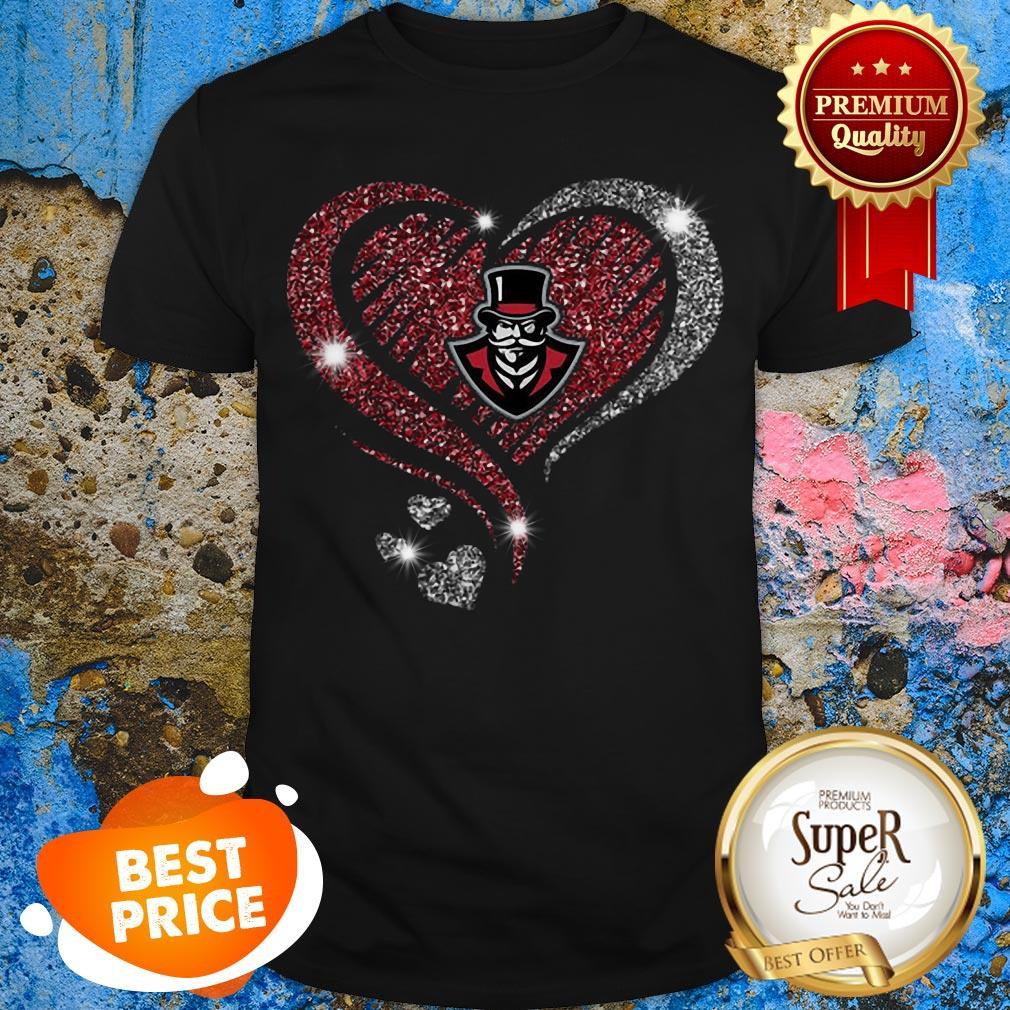 Nice Diamond heart love Austin Peay Governors logo Shirt