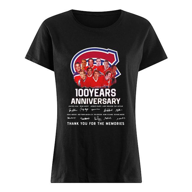 100 Years Anniversary Montreal Canadiens Thank You For The Memories  Classic Women's T-shirt