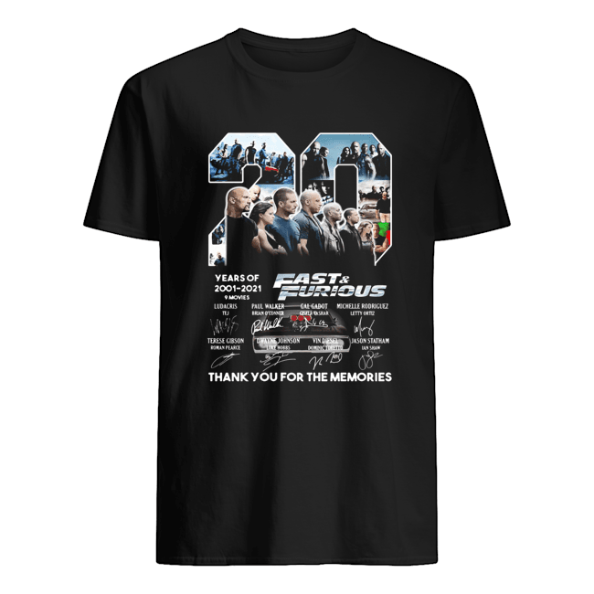 20 years of 2001 2021 9 movies fast and furious thank you for the memories signatures  Classic Men's T-shirt