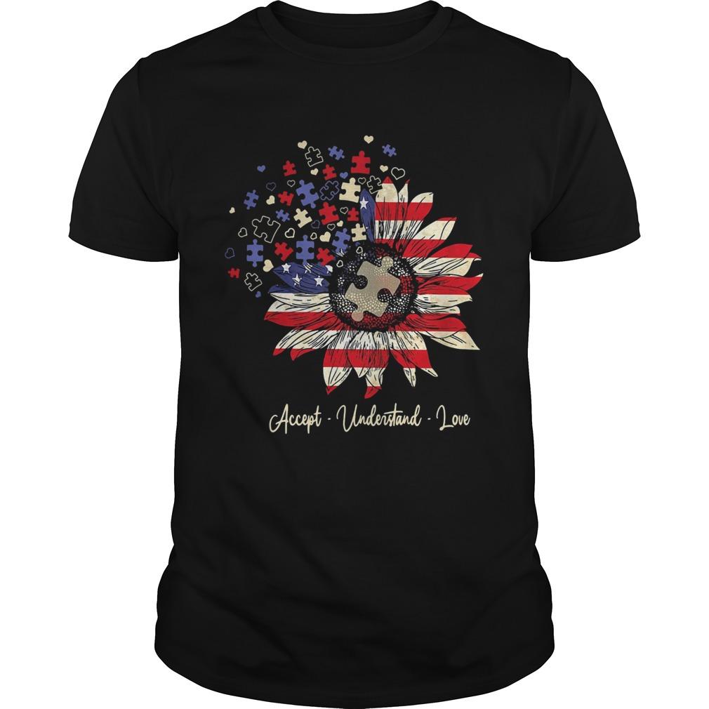 Accept understand love autism sunflower American flag veteran Independence Day  Unisex
