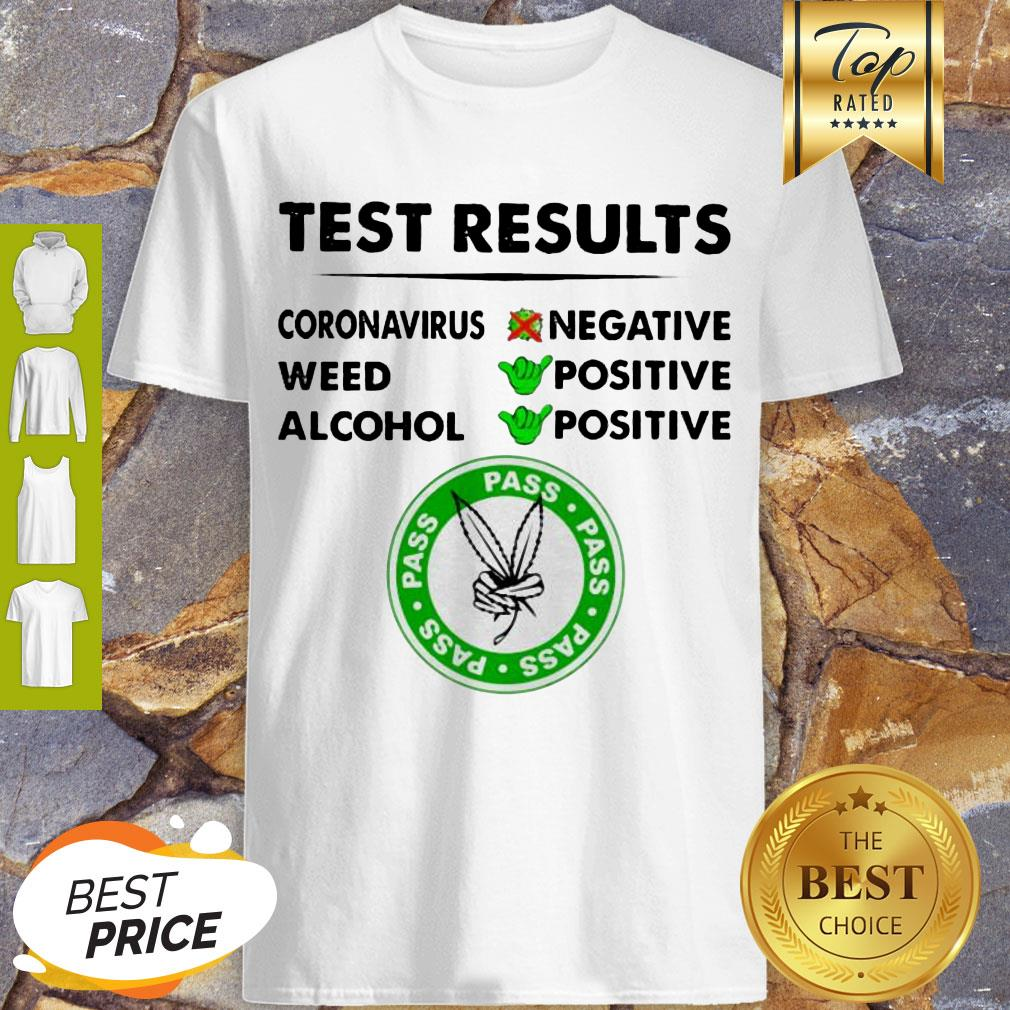Awesome Test Results Coronavirus Weed Alcohol Negative Positive Shirt