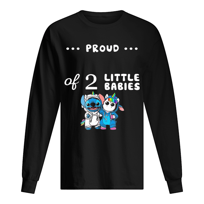 Baby Stitch And Unicorn Proud Of 2 Little Babies  Long Sleeved T-shirt