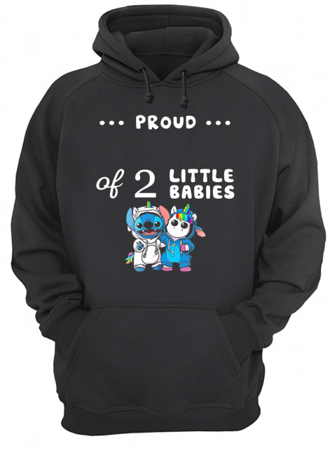 Baby Stitch And Unicorn Proud Of 2 Little Babies  Unisex Hoodie