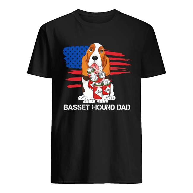 Basset hound dad American flag veteran Independence Day  Classic Men's T-shirt