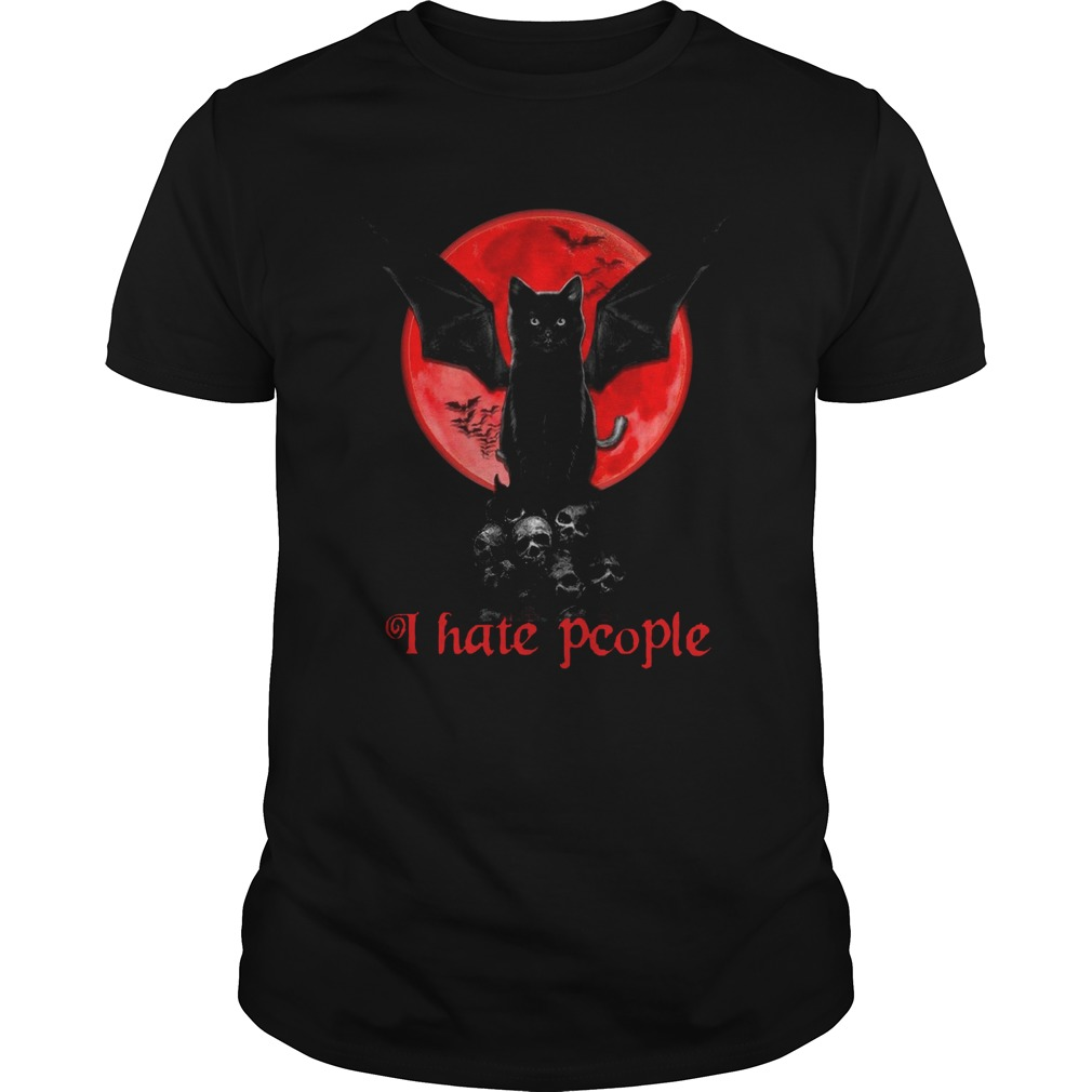 Bat And Black Cat Moon Red I Hate People  Unisex
