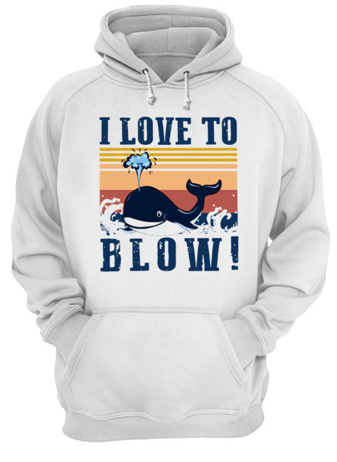 Blue Whale I Love To Blow Vintage  Unisex Hoodie