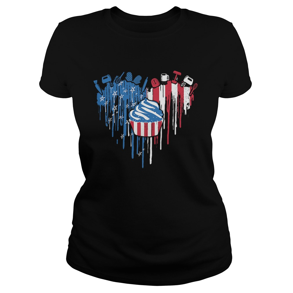 Cake heart American flag veteran Independence Day  Classic Ladies
