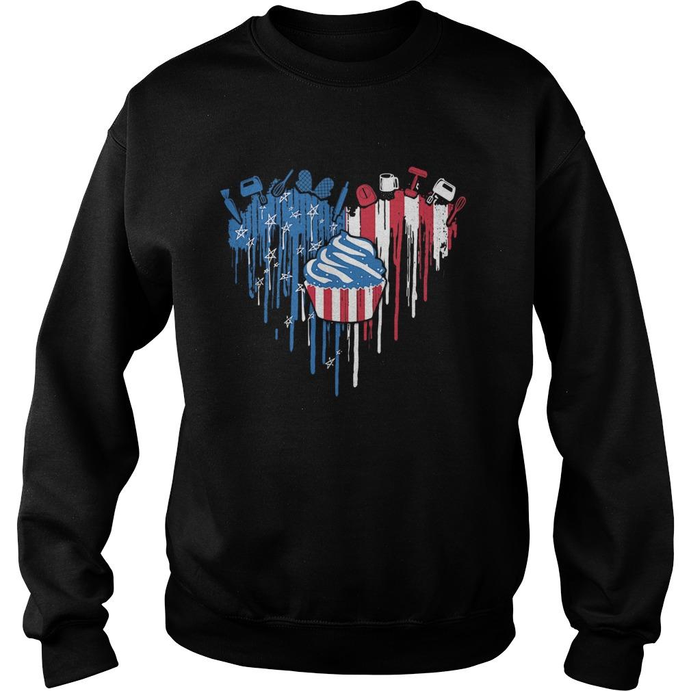Cake heart American flag veteran Independence Day  Sweatshirt