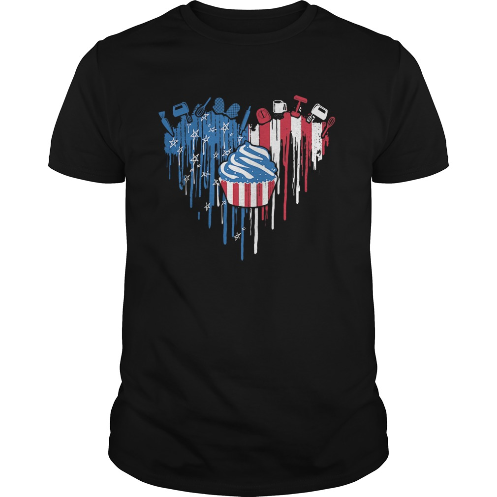 Cake heart American flag veteran Independence Day  Unisex