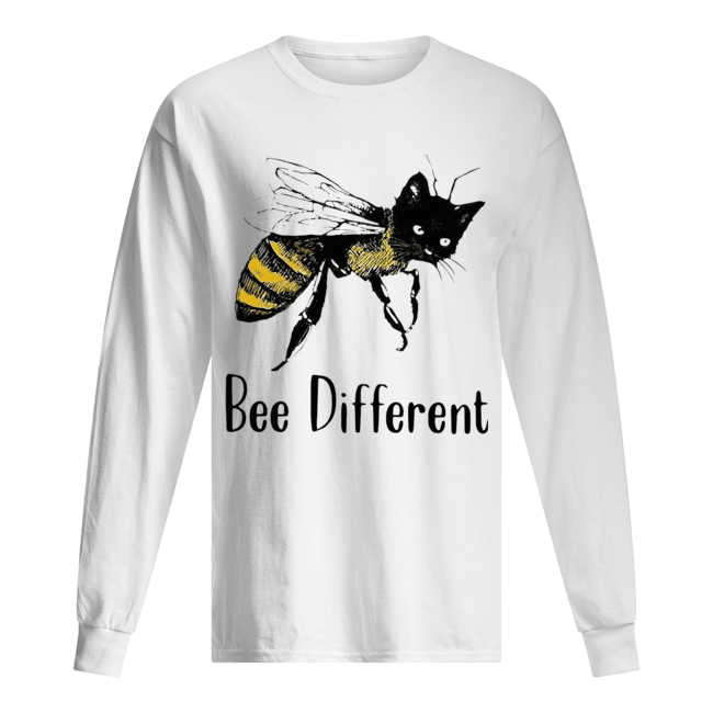 Cat Graphic Bee Diffirent  Long Sleeved T-shirt