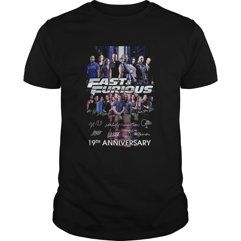 Fast and furious 19th anniversary characters signatures  Unisex