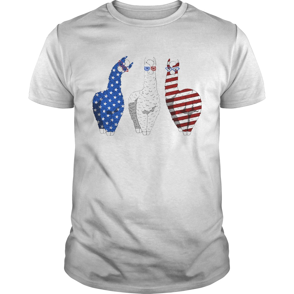 Llama American Flag Veteran Independence Day  Unisex