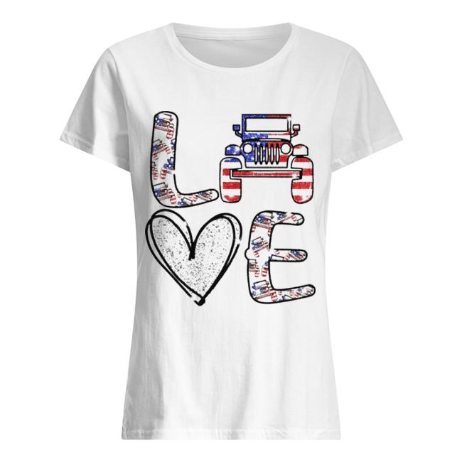 Love Jeep America Flag  Classic Women's T-shirt
