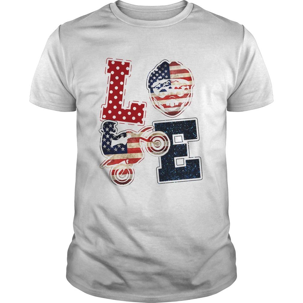 Love motocross American flag veteran Independence Day  Unisex