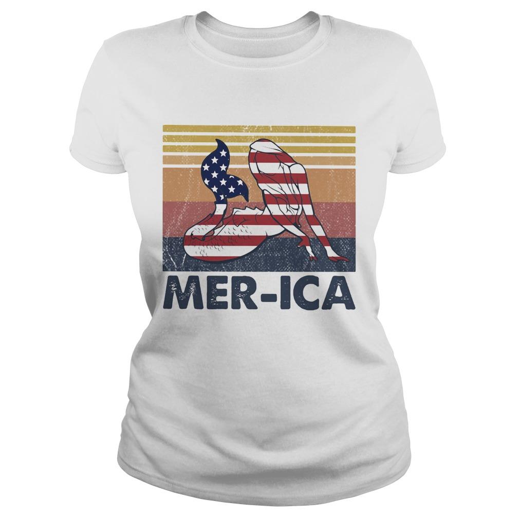 Mermaid MerIca American flag veteran Independence Day vintage  Classic Ladies