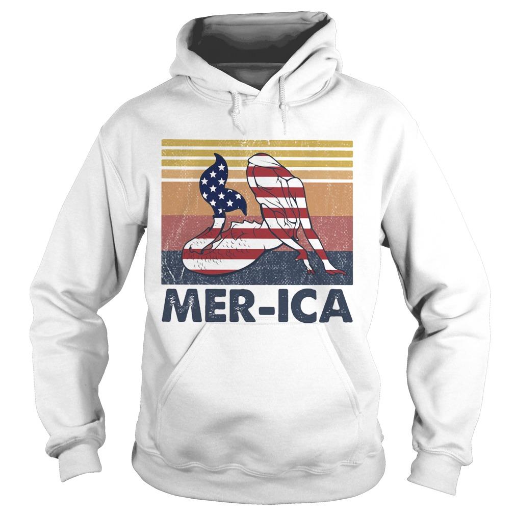 Mermaid MerIca American flag veteran Independence Day vintage  Hoodie