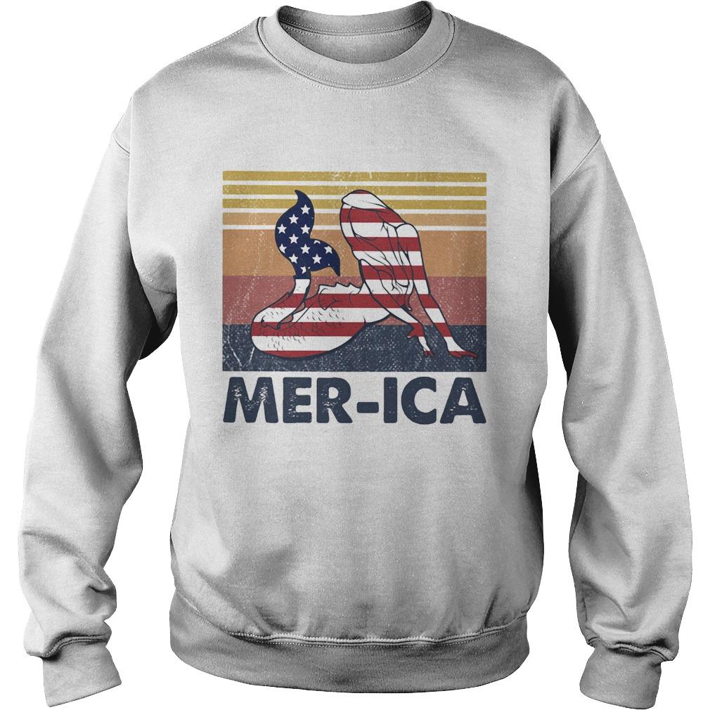 Mermaid MerIca American flag veteran Independence Day vintage  Sweatshirt