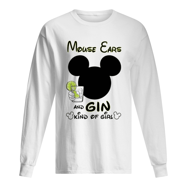 Mickey Mouse Cars And Gin Kind Of Girl  Long Sleeved T-shirt