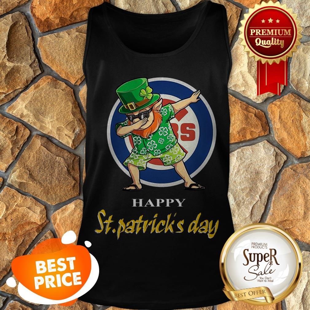 Nice Dabbing Leprechaun Chicago Cubs Happy St. Patrick's Day Tank Top