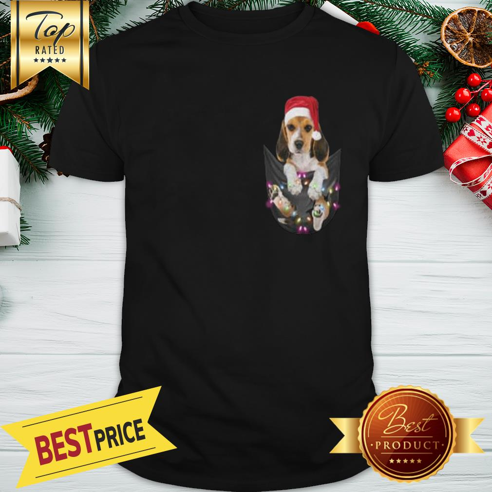 Official Santa Beagle In Pocket Christmas Light Shirt
