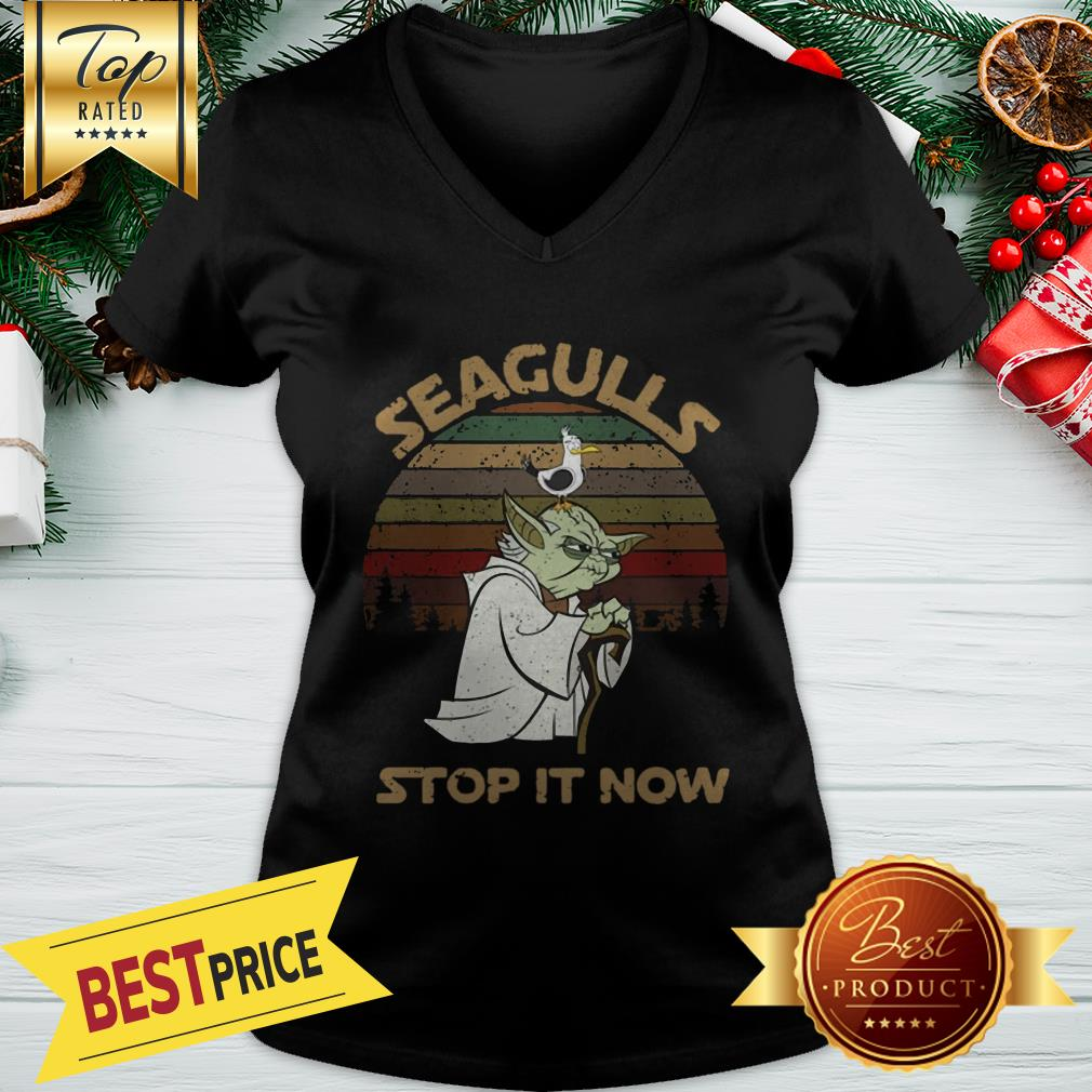 Official Vintage Star Wars Yoda And Seagulls Stop It Now V-neck