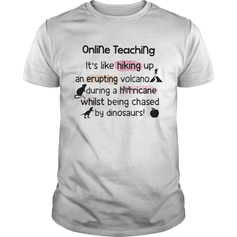 Online Teaching Its Like Hooking Up An Erupting Volcano During Hurricane While Being Chased By Din Unisex