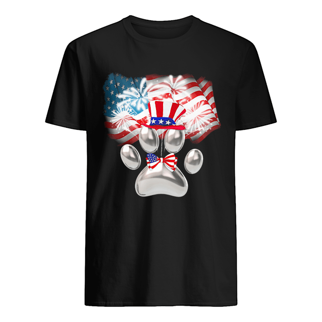 Paw American flag veteran Independence Day  Classic Men's T-shirt