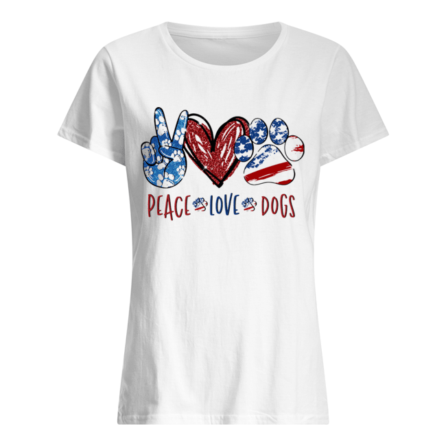 Peace love dogs paw heart  Classic Women's T-shirt