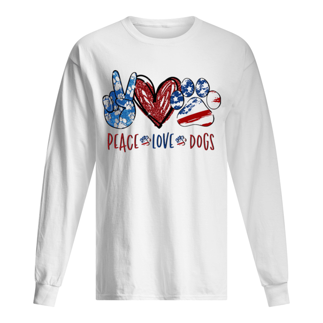 Peace love dogs paw heart  Long Sleeved T-shirt