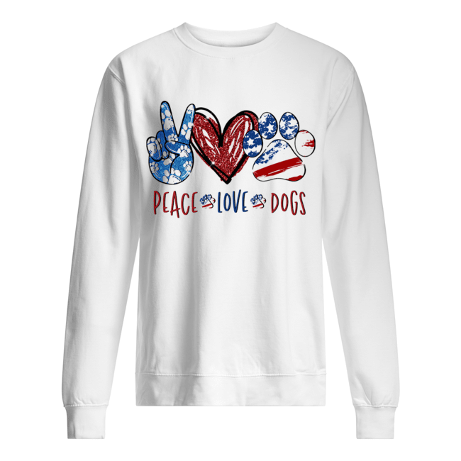 Peace love dogs paw heart  Unisex Sweatshirt