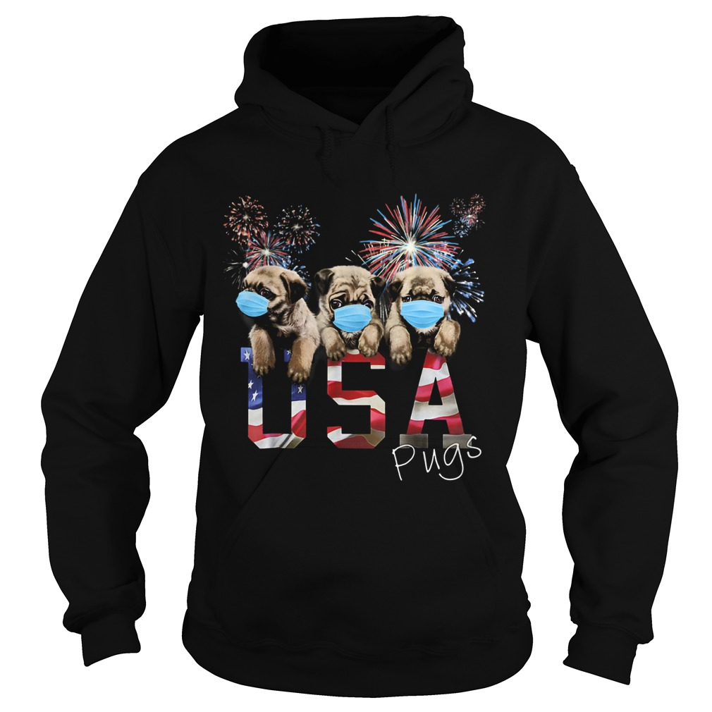 Pugs wear mask usa flag firework independence day  Hoodie