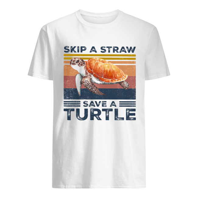 Skip a straw save a turtle vintage  Classic Men's T-shirt