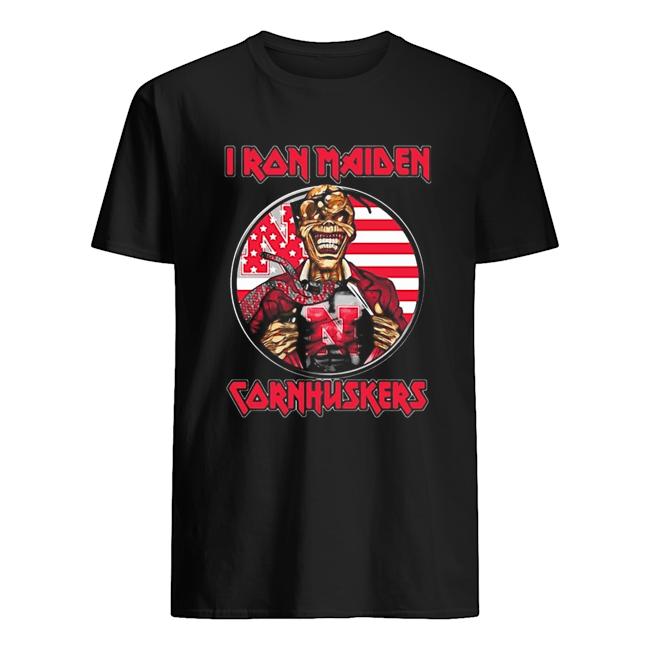 Skull Iron Maiden Nebraska Cornhuskers American Flag Independence Day  Classic Men's T-shirt