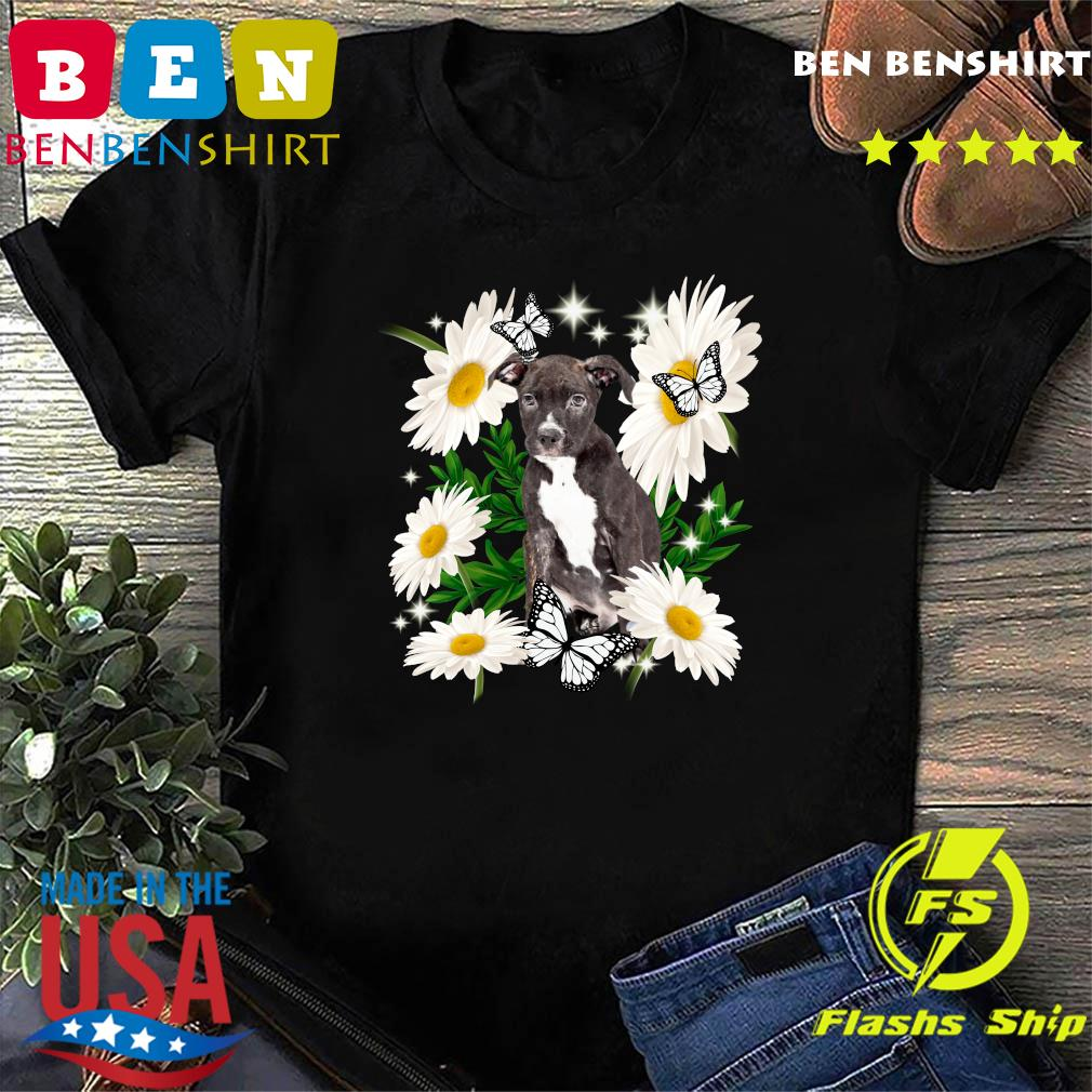 Staffordshire Bull Terrier Dog Daisy flower Classic T-Shirt