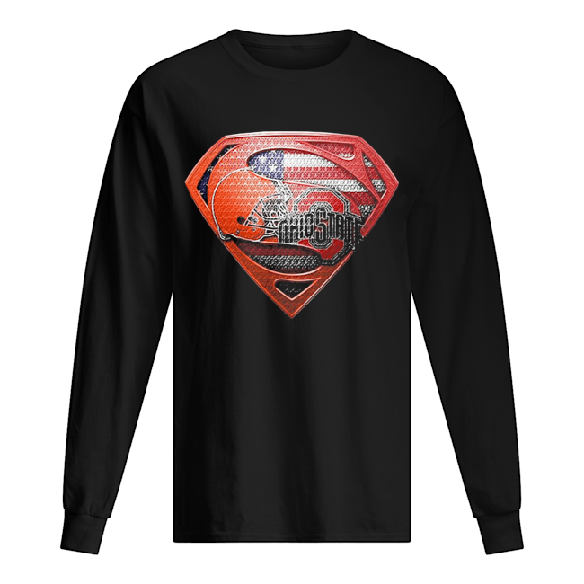 Superman cleveland browns and cleveland indians american flag independence day  Long Sleeved T-shirt