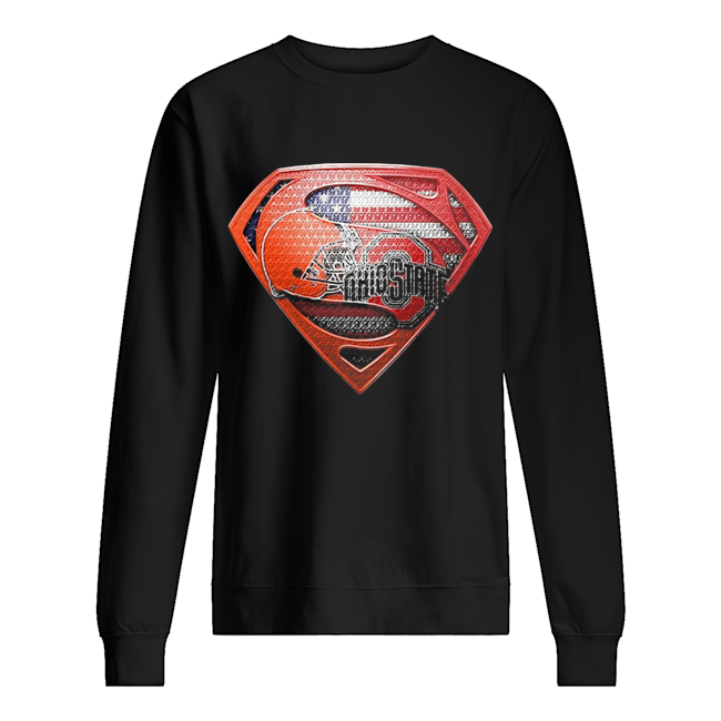 Superman cleveland browns and cleveland indians american flag independence day  Unisex Sweatshirt