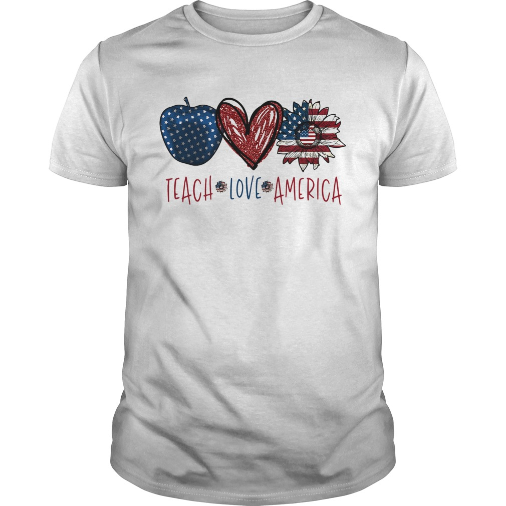 Teach love America sunflower cross American flag veteran Independence Day  Unisex