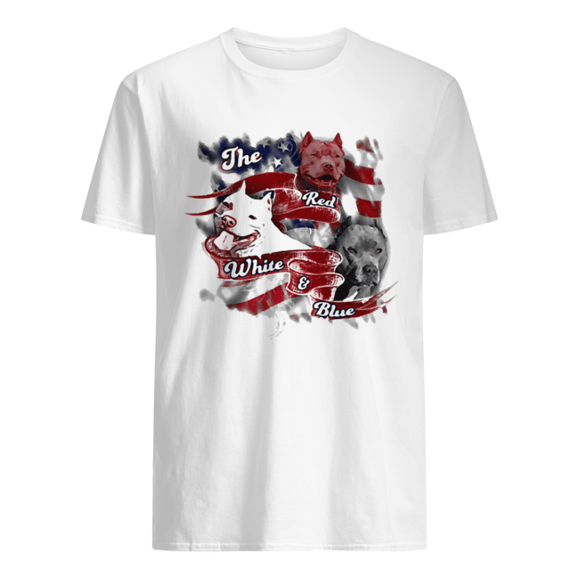 The red white and blue pitbull American flag veteran Independence Day  Classic Men's T-shirt