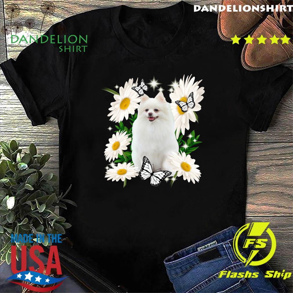 White Pomeranian Daisy flower Classic T-Shirt